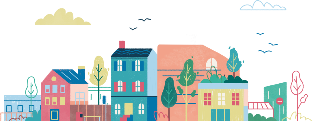 Illustration of a row of houses.